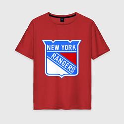 Футболка оверсайз женская New York Rangers цвета красный — фото 1