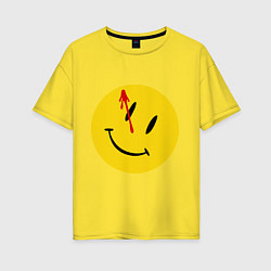 Футболка оверсайз женская Cмайл с кровью цвета желтый — фото 1