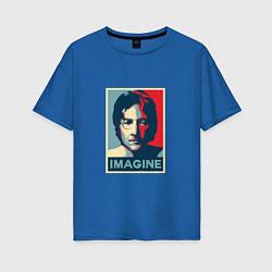 Футболка оверсайз женская Lennon Imagine цвета синий — фото 1
