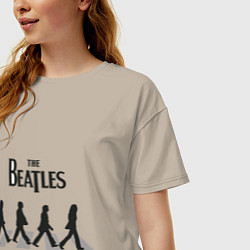 Футболка оверсайз женская The Beatles: Abbey Road цвета миндальный — фото 2