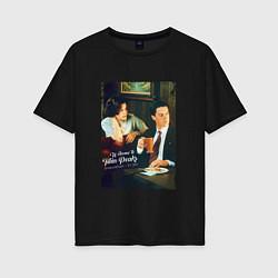 Футболка оверсайз женская Twin Peaks Bar цвета черный — фото 1