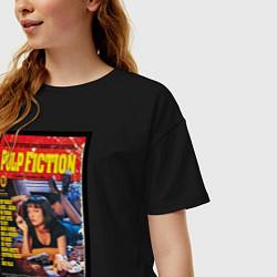 Футболка оверсайз женская Pulp Fiction Cover цвета черный — фото 2