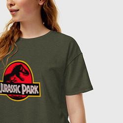 Футболка оверсайз женская Jurassic Park цвета меланж-хаки — фото 2