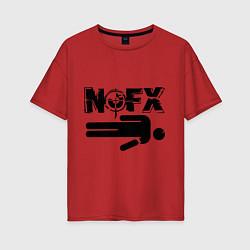 Футболка оверсайз женская NOFX crushman цвета красный — фото 1