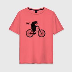 Футболка оверсайз женская Ежик на велосипеде цвета коралловый — фото 1