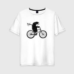Футболка оверсайз женская Ежик на велосипеде цвета белый — фото 1