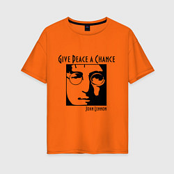 Футболка оверсайз женская Give Peace a Chance цвета оранжевый — фото 1