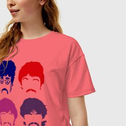 Футболка оверсайз женская The Beatles faces цвета коралловый — фото 2