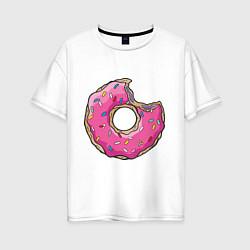 Футболка оверсайз женская Пончик Гомера цвета белый — фото 1