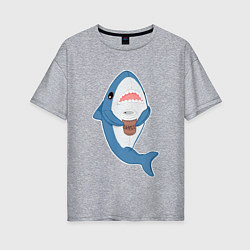 Футболка оверсайз женская Hype Shark цвета меланж — фото 1