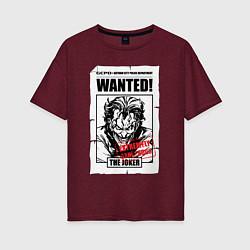 Футболка оверсайз женская Wanted Joker цвета меланж-бордовый — фото 1
