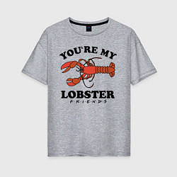 Футболка оверсайз женская Youre my Lobster цвета меланж — фото 1