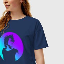 Футболка оверсайз женская Виктор Цой цвета тёмно-синий — фото 2