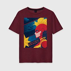 Футболка оверсайз женская Капитан Марвел Мстители цвета меланж-бордовый — фото 1