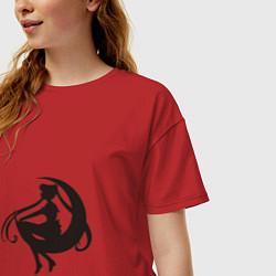 Футболка оверсайз женская Тень воина луны цвета красный — фото 2