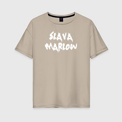 Футболка оверсайз женская Slava Marlow цвета миндальный — фото 1