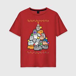 Женская удлиненная футболка с принтом КотоЕль, цвет: красный, артикул: 10276599305825 — фото 1