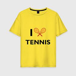 Футболка оверсайз женская I Love Tennis цвета желтый — фото 1