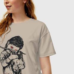 Футболка оверсайз женская Chelsea Grin: Demon Girl цвета миндальный — фото 2