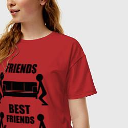 Футболка оверсайз женская Best friends цвета красный — фото 2