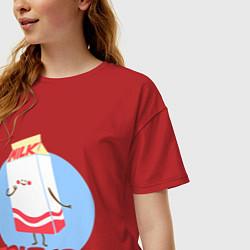 Футболка оверсайз женская Молоко цвета красный — фото 2