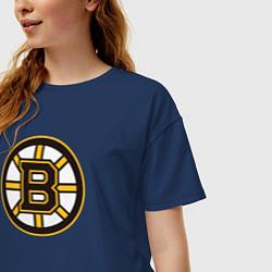 Футболка оверсайз женская Boston Bruins цвета тёмно-синий — фото 2