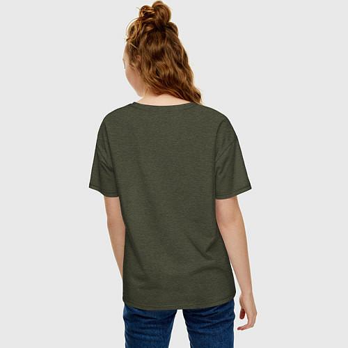 Женская футболка оверсайз Soul Eater: White / Меланж-хаки – фото 4