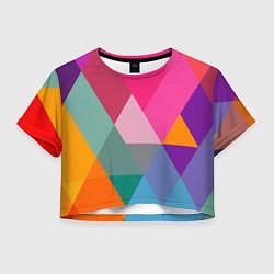 Футболка 3D укороченная женская Разноцветные полигоны цвета 3D — фото 1