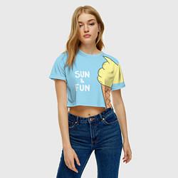 Футболка 3D укороченная женская Sun & Fun цвета 3D — фото 2