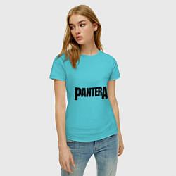 Футболка хлопковая женская Pantera цвета бирюзовый — фото 2