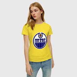 Футболка хлопковая женская Edmonton Oilers цвета желтый — фото 2