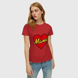 Футболка хлопковая женская Любимая мама цвета красный — фото 2