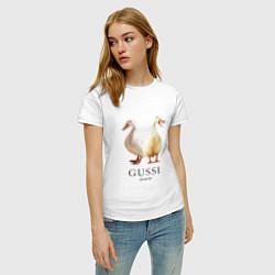 Футболка хлопковая женская GUSSI Ga-Ga цвета белый — фото 2
