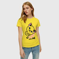 Футболка хлопковая женская Cat: Play with me цвета желтый — фото 2