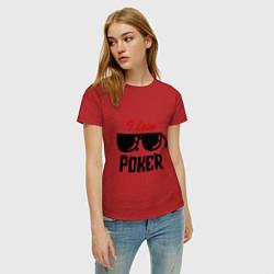 Футболка хлопковая женская Я люблю покер цвета красный — фото 2