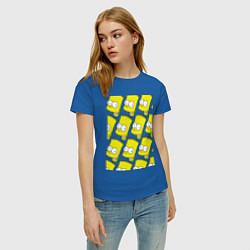 Футболка хлопковая женская Барт Симпсон: узор цвета синий — фото 2