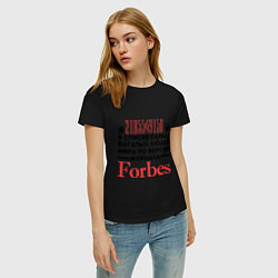 Футболка хлопковая женская Forbes цвета черный — фото 2