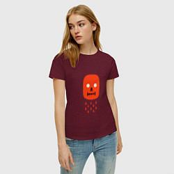 Футболка хлопковая женская Кнопка психодел цвета меланж-бордовый — фото 2