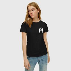 Футболка хлопковая женская Виктор Цой цвета черный — фото 2