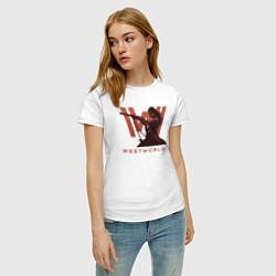 Футболка хлопковая женская Westworld цвета белый — фото 2