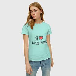 Футболка хлопковая женская Я люблю вредничать цвета мятный — фото 2