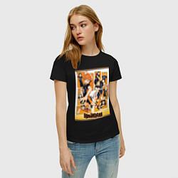 Женская хлопковая футболка с принтом Haikyuu Haikyu Haikuu, цвет: черный, артикул: 10276957900002 — фото 2