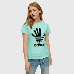 Футболка хлопковая женская Adios цвета мятный — фото 2