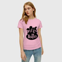 Футболка хлопковая женская The Beatles Band цвета светло-розовый — фото 2