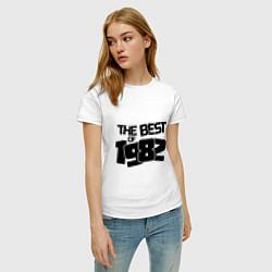Футболка хлопковая женская The best of 1982 цвета белый — фото 2