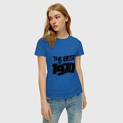 Футболка хлопковая женская The best of 1970 цвета синий — фото 2