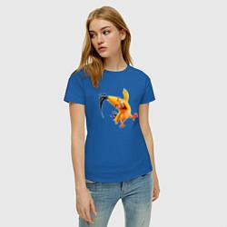 Футболка хлопковая женская Чак-птица цвета синий — фото 2